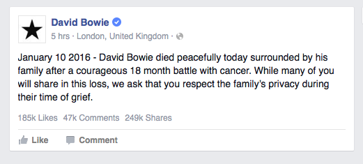 David Bowie Announcement