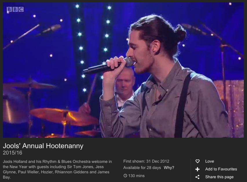 Jools Hootenanny Hozier Domino